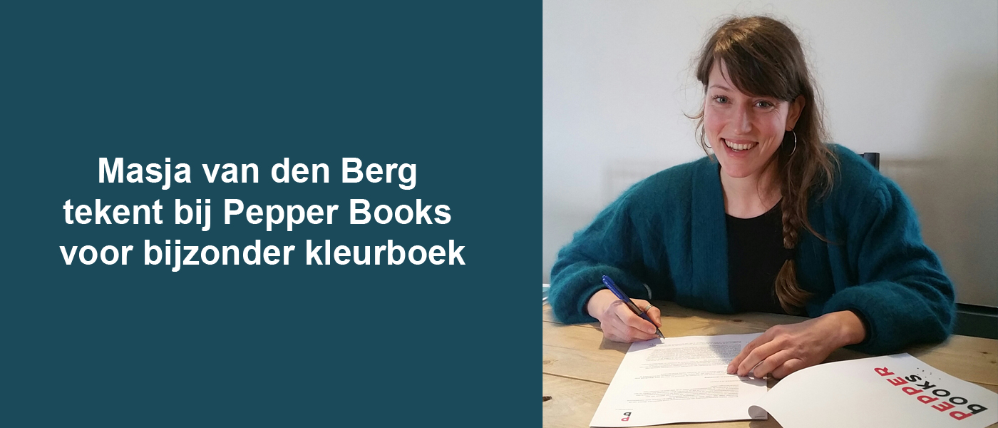 Masja van den Berg, dochter van Carry Slee, tekenbij Pepper Books voor bijzonder volwassen kleurboek
